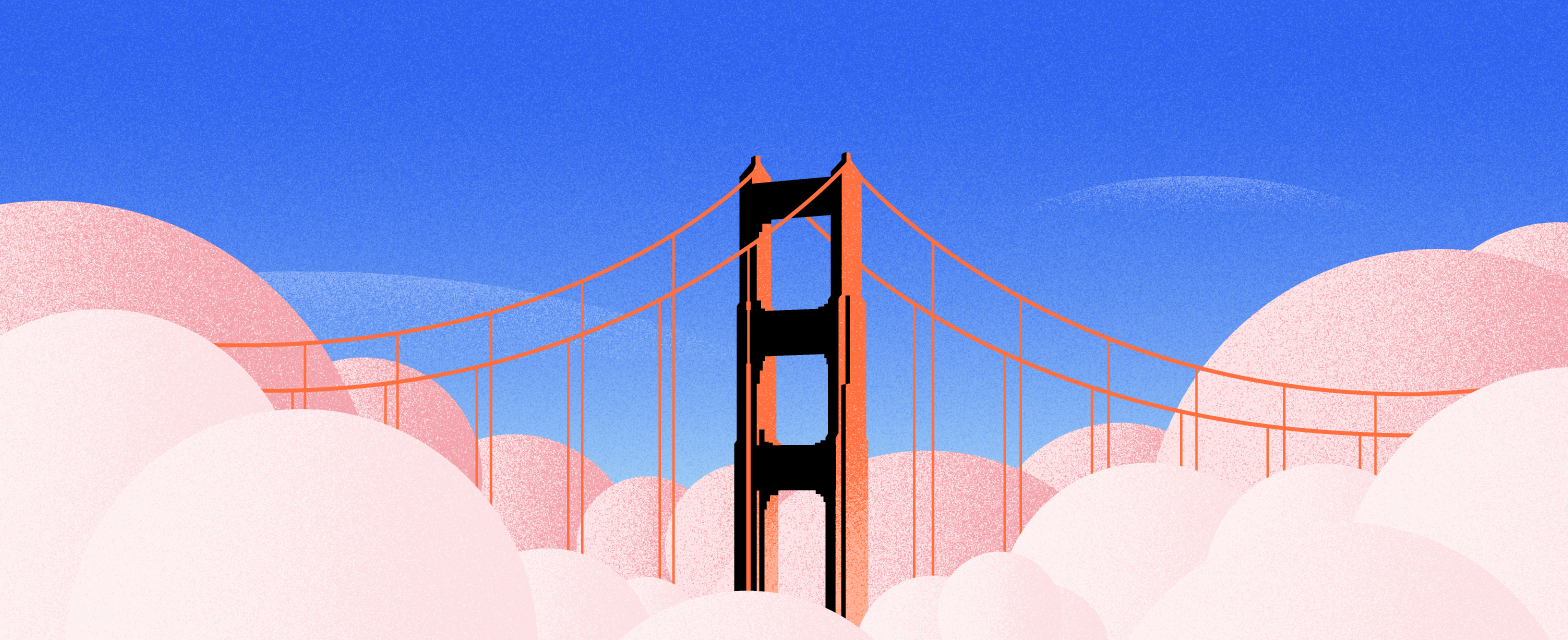 challenges of online learning - graphic shows a bridge over clouds