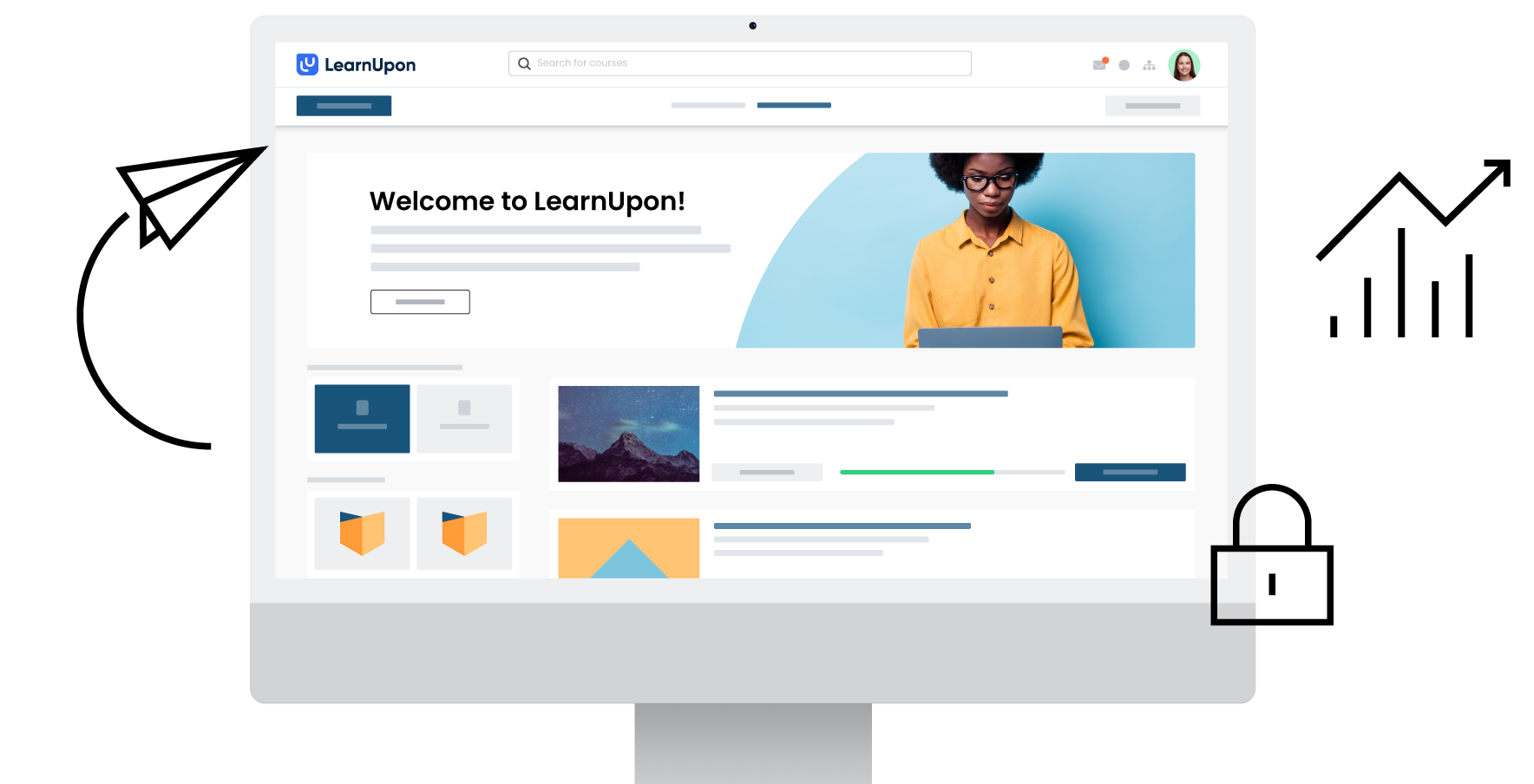 LearnUpon features page main graphic