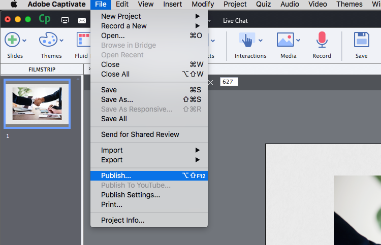 how to publish SCORM content in Adobe Captivate