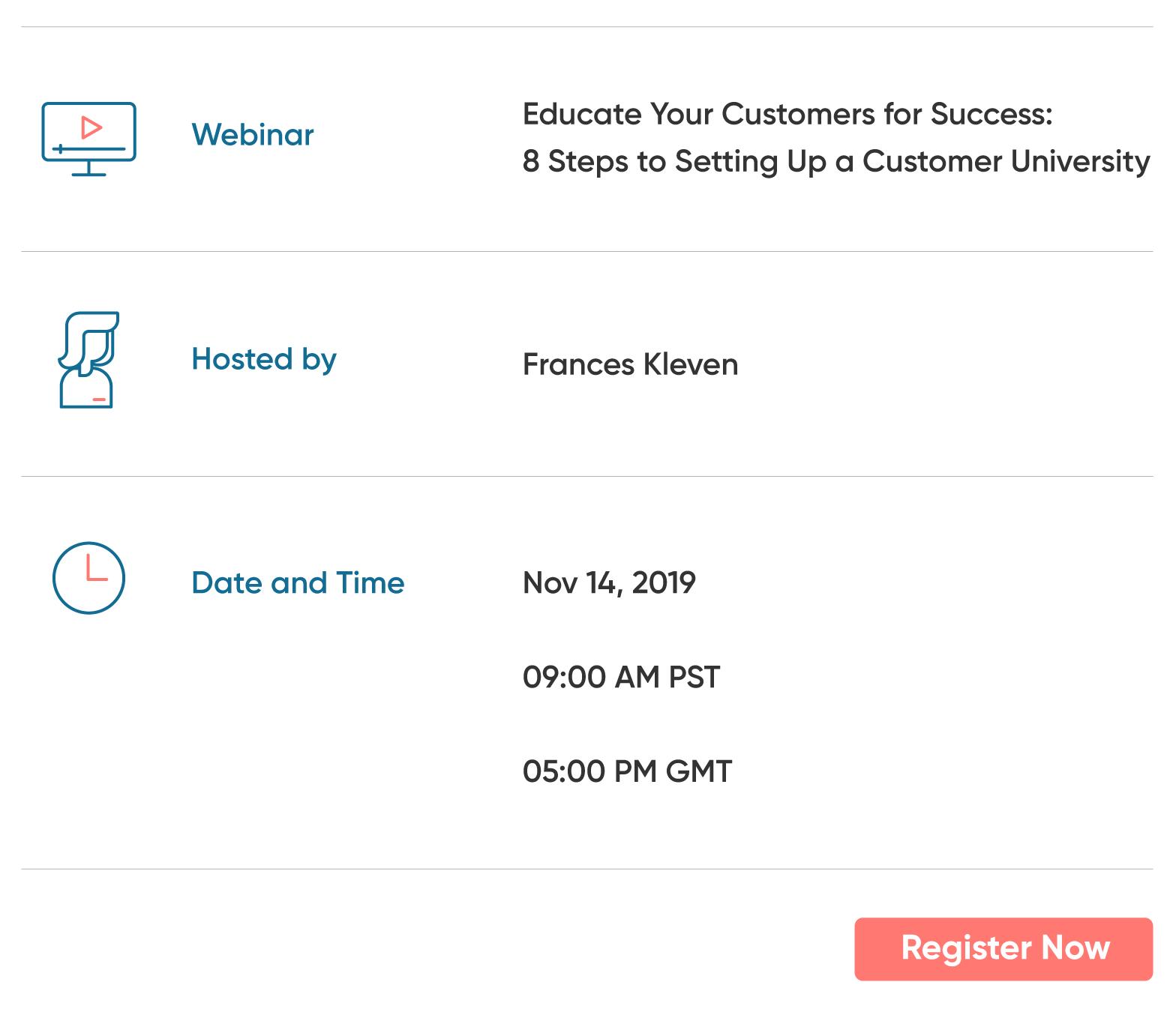 Customer University Webinar Details
