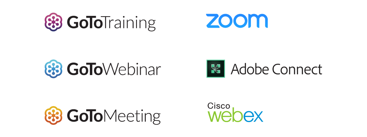List of webinar tools that LEarnUpon supports: GoToMeeting, Zoom, WebEx and Adobe Connect.