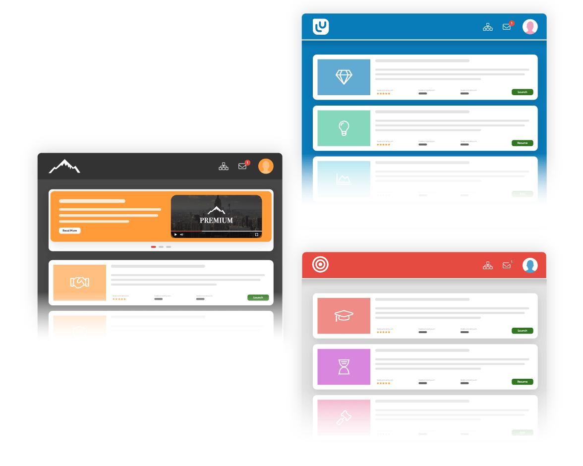 Graphics of corporate LMS portals